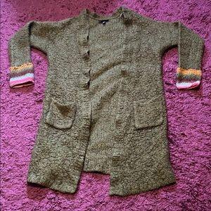 Topshop size 4 dark green open face cardigan